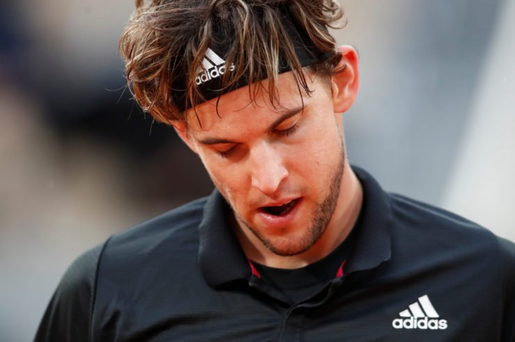 An exhausted Dominic Thiem in the French Open 2020
