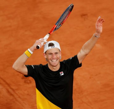 Diego Schwartzman celebrates his win at the French Open 2020