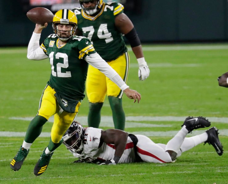 Green Bay Packers quarterback Aaron Rodgers attempts to make a throw against Atlanta Falcons in Week Four.