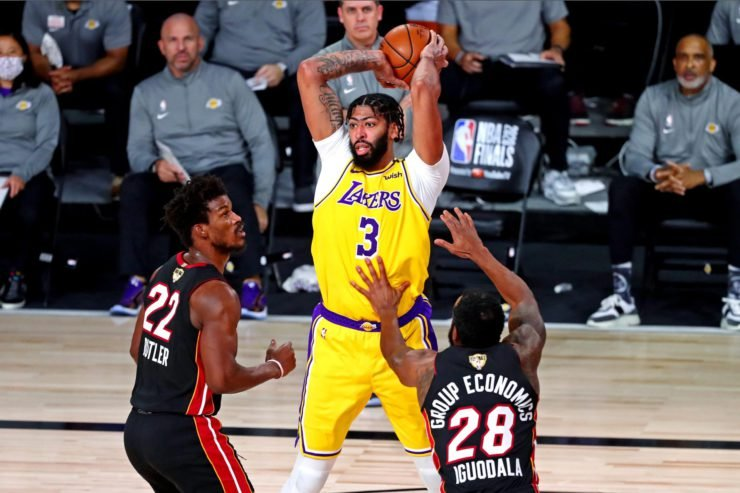 Lakers forward Anthony Davis against Miami Heat in 2020 NBA Finals