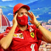 An animated Sebastian Vettel after DNF result in Italy