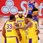The Los Angeles Lakers huddle