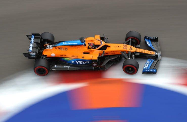 The McLaren of Carlos Sainz during qualifying in Russia