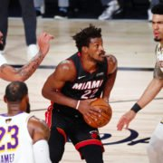 Jimmy Butler defended by LA Lakers during NBA Finals 2020