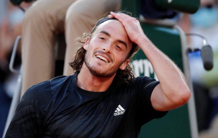 Stefanos Tsitsipas reacts during the French Open 2020