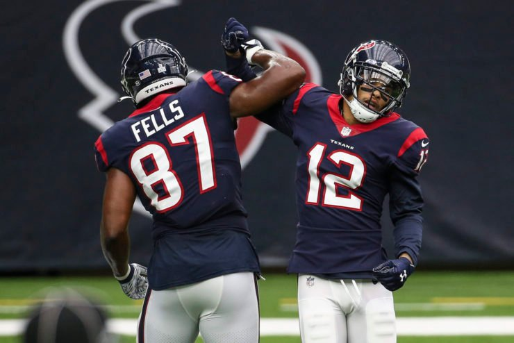 Houston Texans wide receiver Kenny Stills celebrates with tight end Darren Fells against Minnesota Vikings.