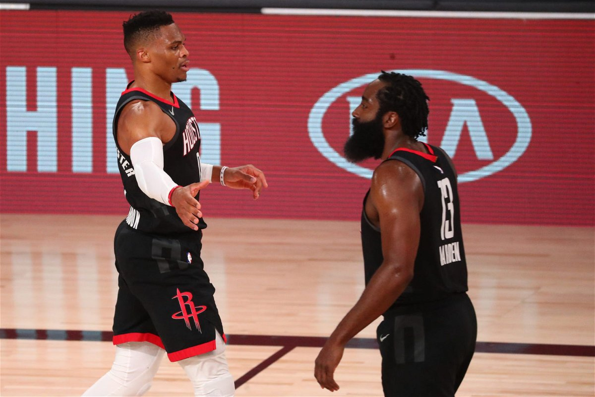 Houston Rockets' James Harden and Russell Westbrook