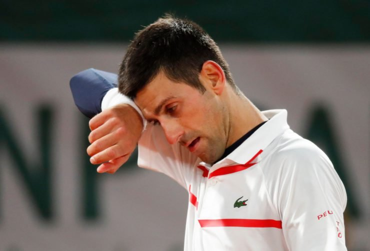 Novak Djokovic sad at the French Open 2020