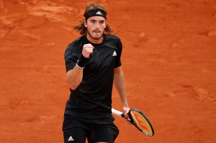 Stefanos Tsitsipas celebrates after winning a point at French Open 2020