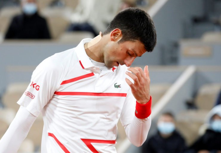 Novak Djokovic is disappointed during his French Open 2020 quarter-final