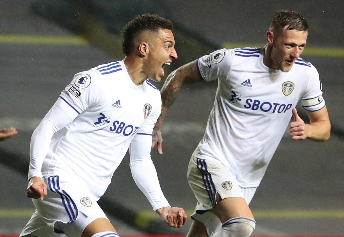 Leeds United forward Rodrigo celebrates after scoring against Manchester City.