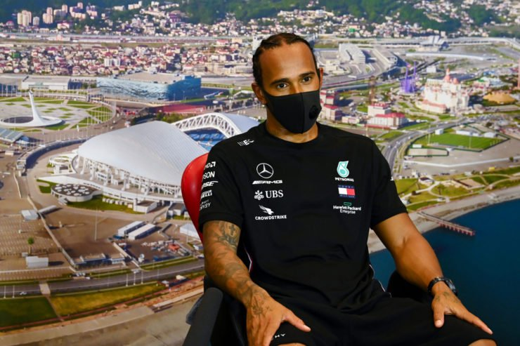 Mercedes' Lewis Hamilton at the drivers press conference in Russia