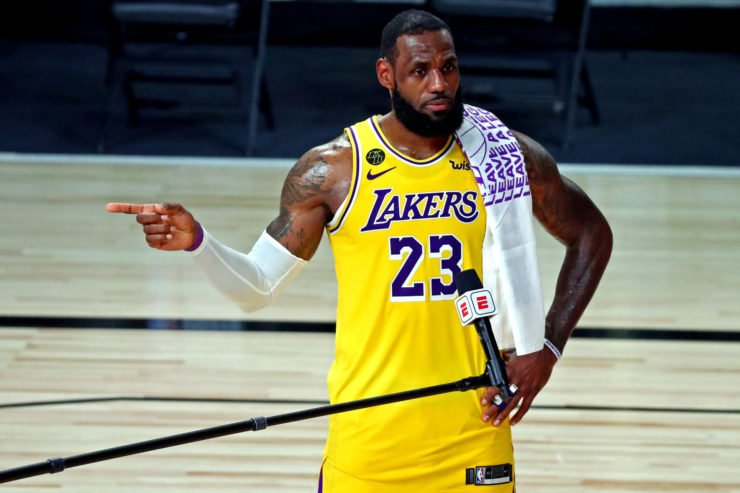 LeBron James happy after Los Angeles Lakers victory