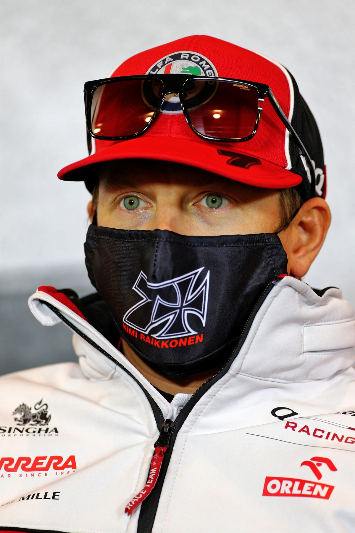 Kimi Raikkonen during the Eifel Grand Prix press conference 2020
