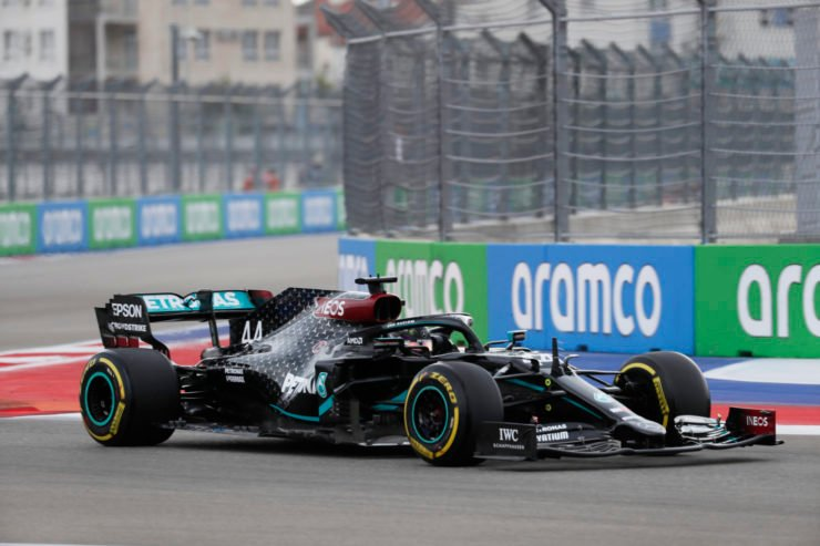 Mercedes driver Lewis Hamilton during qualifying for the Russian Grand Prix