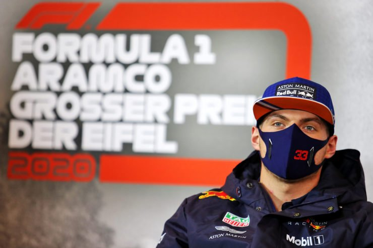 Red Bull's Max Verstappen wearing a protective face mask during a press conference ahead of the Eifel Grand Prix 2020