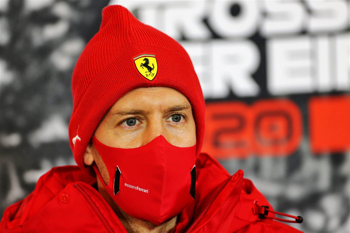 Ferrari driver Sebastian Vettel at the drivers press conference prior to the Eifel Grand Prix