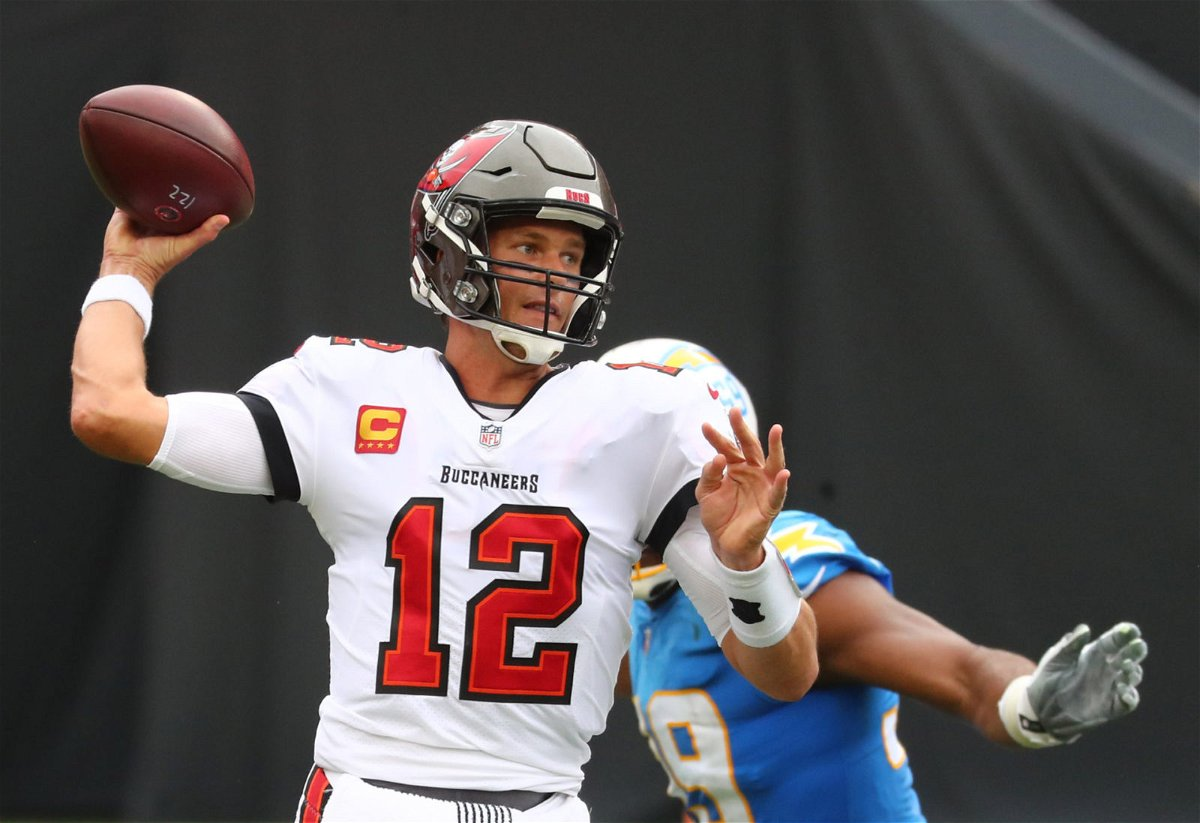 Tampa Bay Buccaneers quarterback Tom Brady attempts to make a throw against Los Angeles Chargers in Week Four.