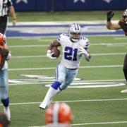 Dallas Cowboys running back Ezekiel Elliott runs with the ball against Cleveland Browns in Week Four.