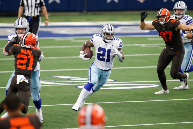Dallas Cowboys running back Ezekiel Elliott runs with the ball against Cleveland Browns in Week Four.