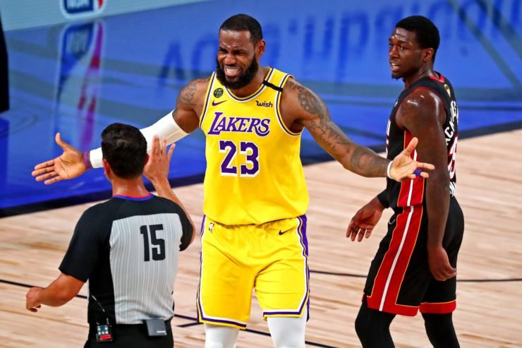 LeBron James annoyed at the referee