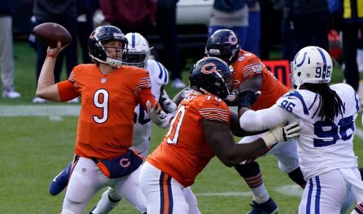 Chicago Bears quarterback Nick Foles attempts to make a throw against Indianpolis Colts in Week Four.