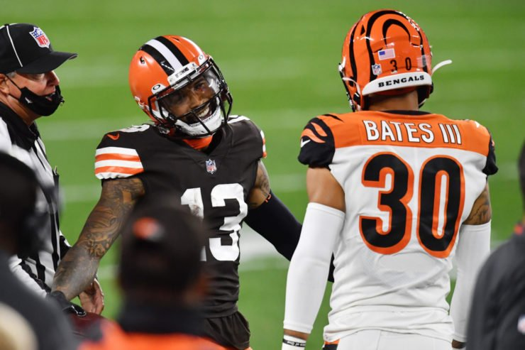 Cleveland Browns wide receiver Odell Beckham Jr. interacts with a Cincinnati Bengals player in Week Two.