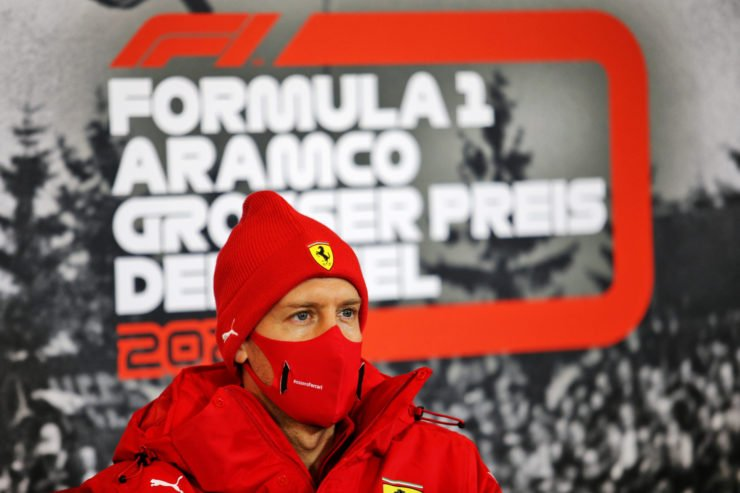 Ferrari's Sebastian Vettel wearing a protective face mask during a press conference ahead of the Eifel Grand Prix 2020
