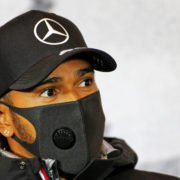 Mercedes' Lewis Hamilton during a press conference ahead of the Eifel Grand Prix 2020