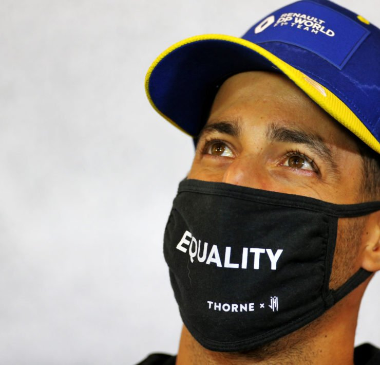 Renault's Daniel Ricciardo during a press conference ahead of the Eifel Grand Prix 2020