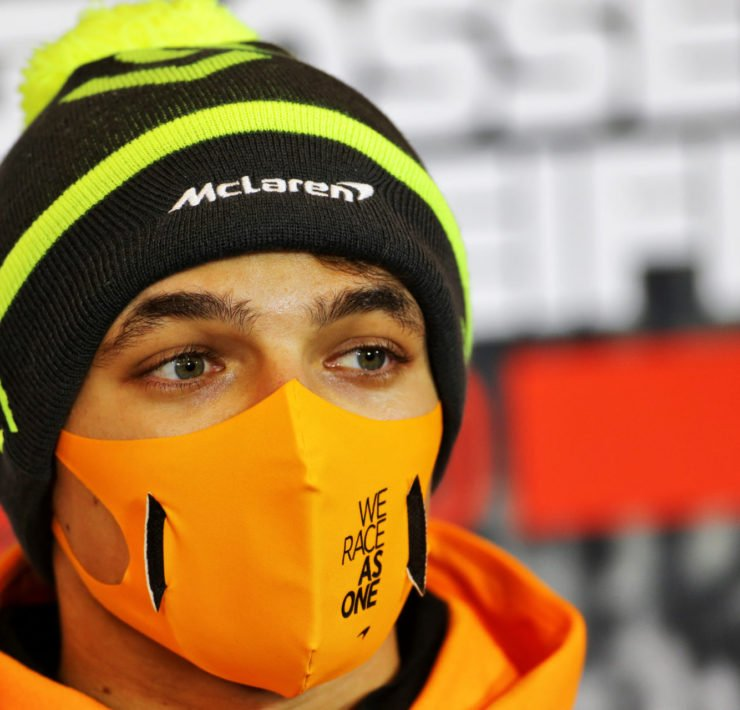 McLaren's Lando Norris at the drivers' press conference ahead of the race in Nurburg