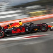 The Red Bull of Max Verstappen in action during a practice session in Russia
