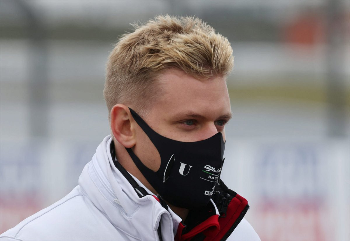 Mick Schumacher looks on prior to the first practice session ahead of the Eifel Grand Prix
