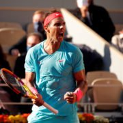 Rafael Nadal celebrates after his semifinal win in French Open 2020