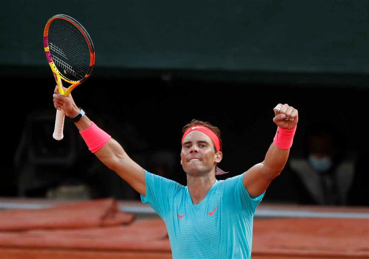 Rafael Nadal celebrates during the semi-finals at French Open 2020