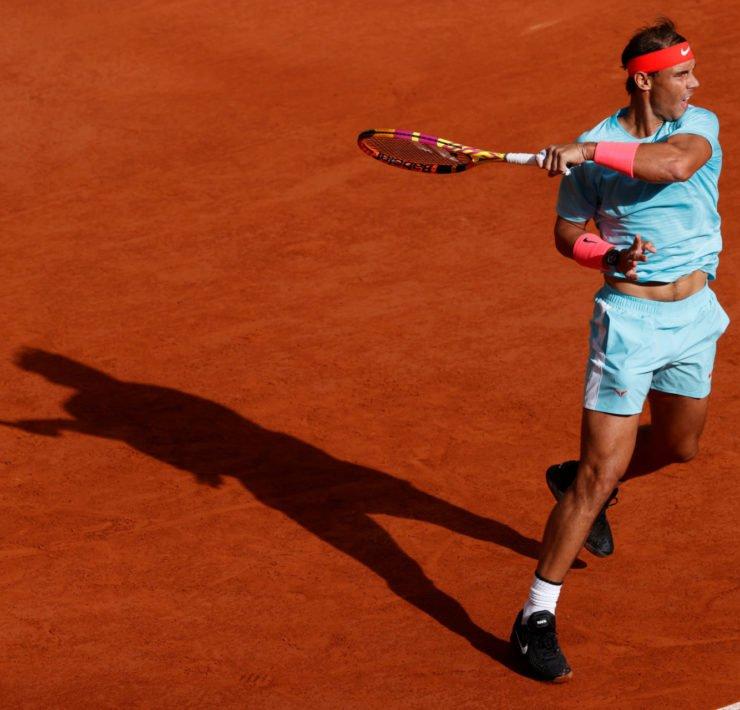 Rafael Nadal hits a shot during his French Open 2020 semi-final