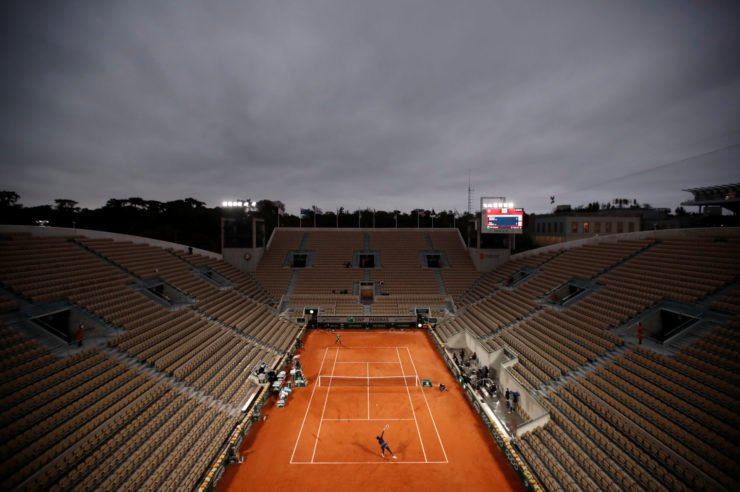 A view of the French Open courts