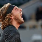 Stefanos Tsitsipas reacts at the French Open 2020