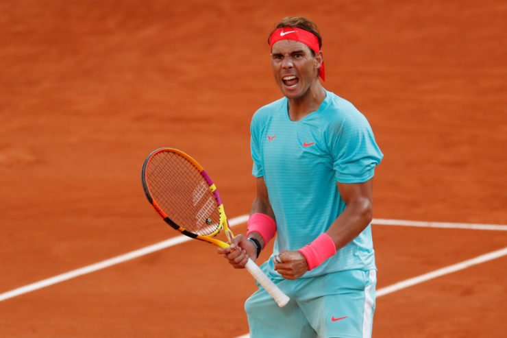 Rafael Nadal celebrates during his semi-final match against Diego Schwartzman at French Open 2020