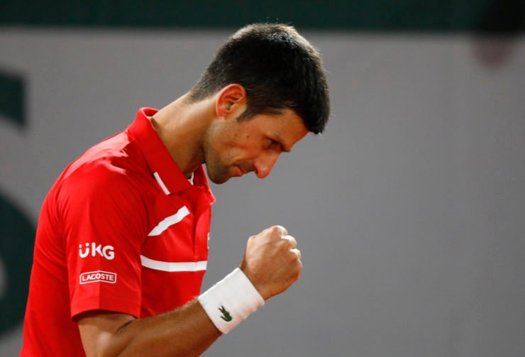 Novak Djokovic celebrates during the French Open 2020