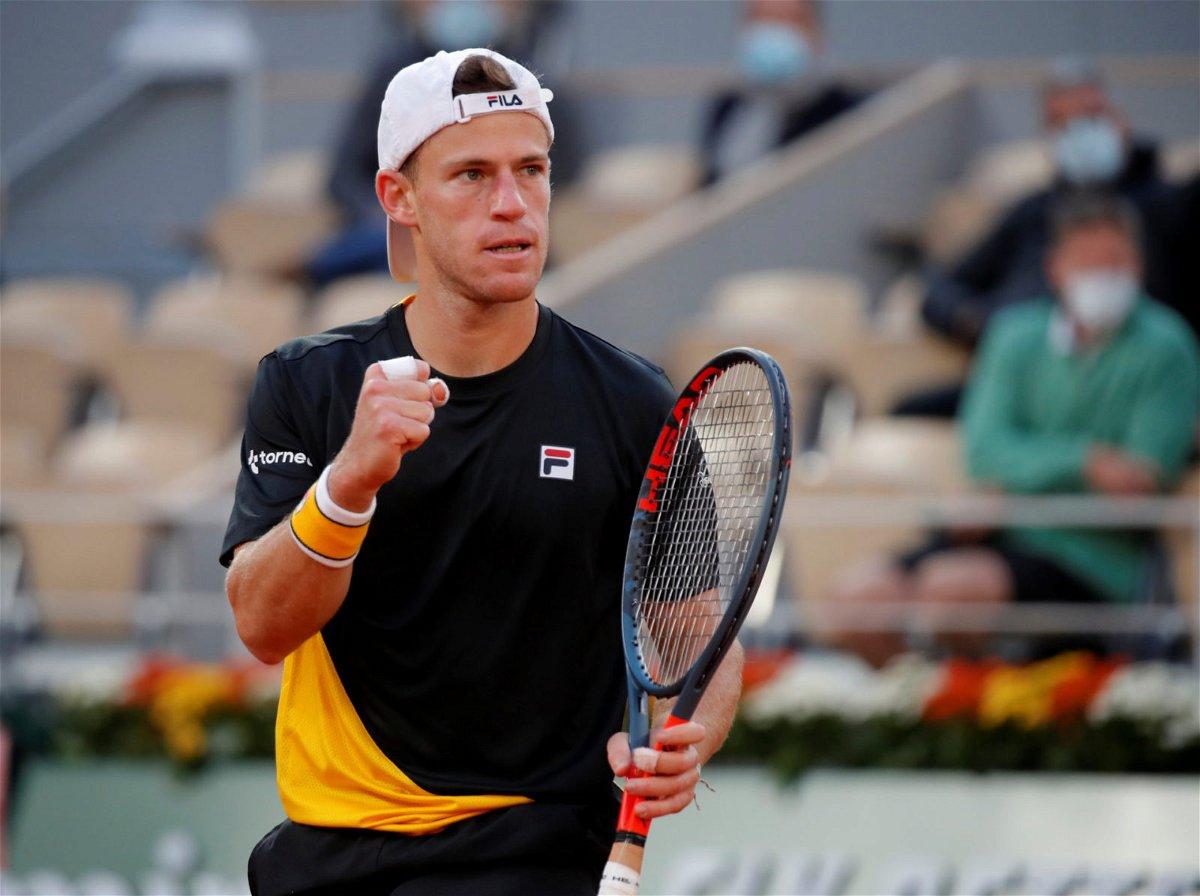 Diego Scwartzman in action in French Open 2020