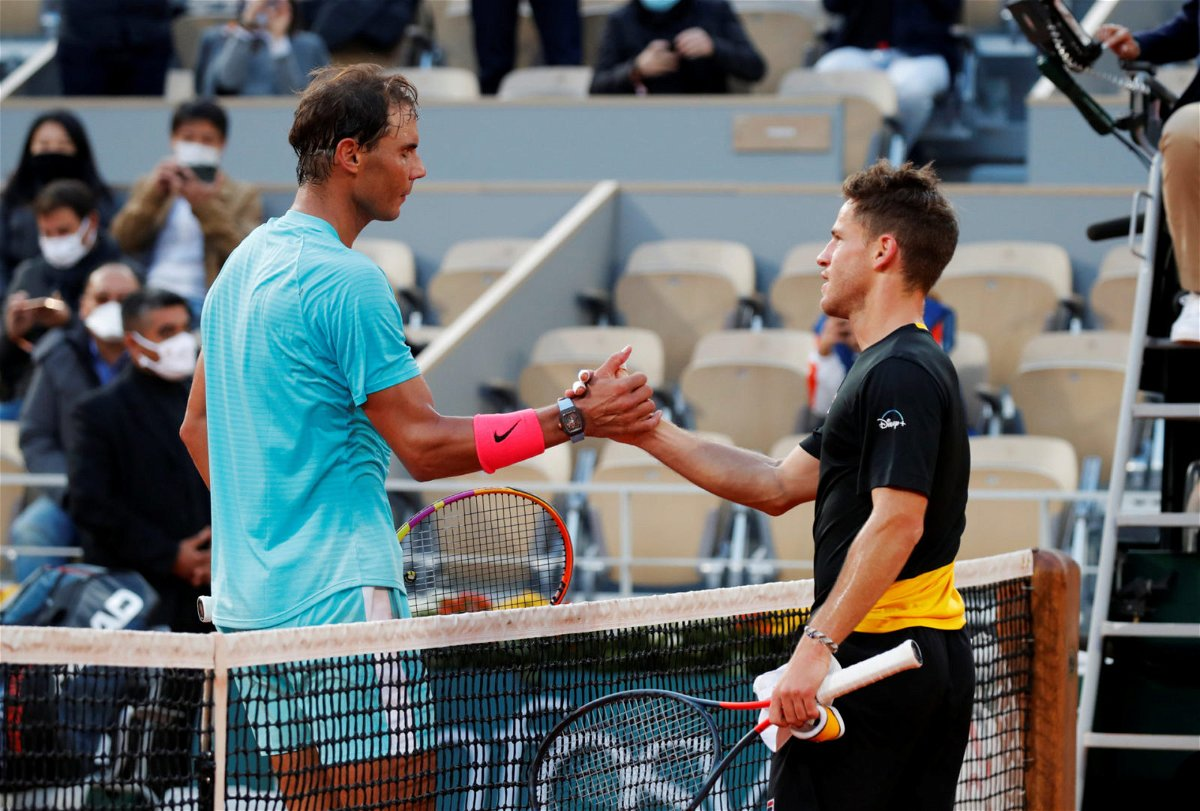 Diego Schwartzman and Rafael Nadal greets each other in French Open 2020