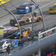 Jimmie Johnson and Clint Bowyer in action during the NASCAR Cup Series race at Talladega