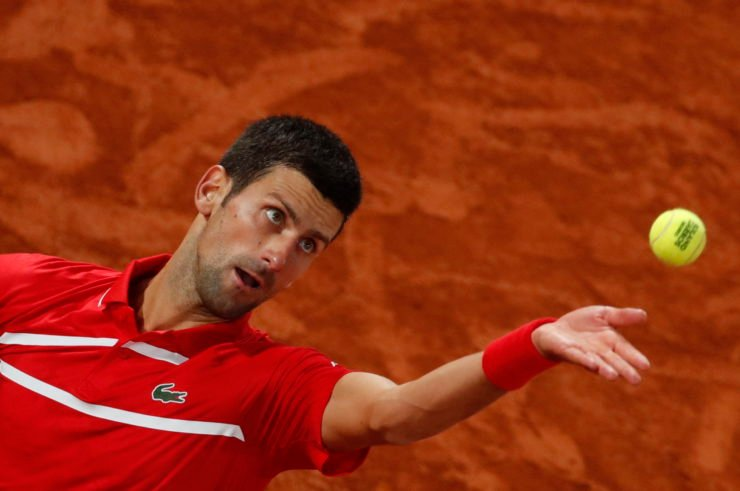 Novak Djokovic in action at French Open 2020