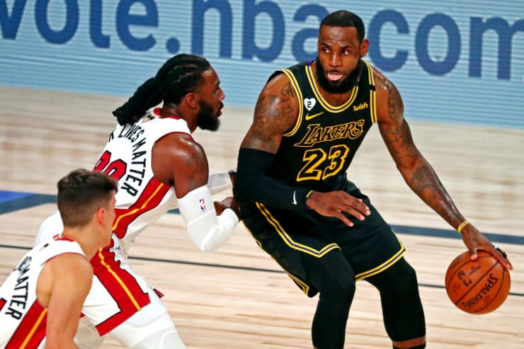 Los Angeles Lakers vs Miami Heat: LeBron James and Jae Crowder