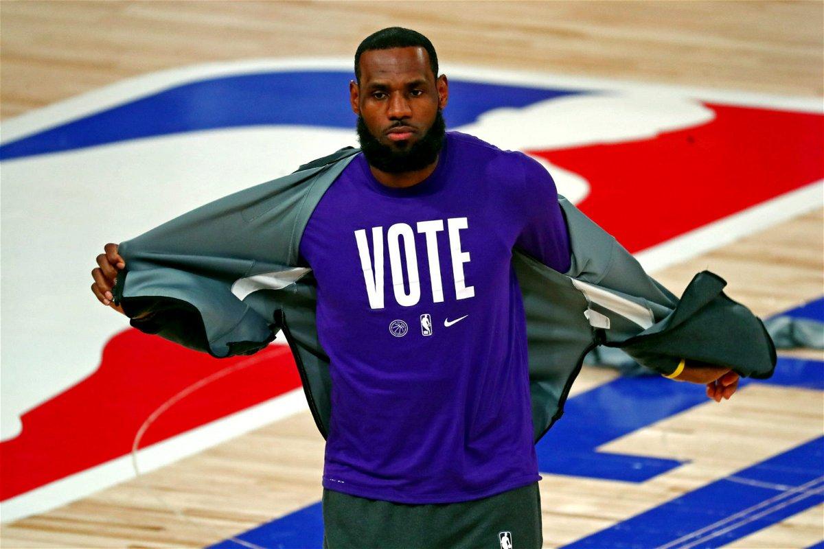 Los Angeles Lakers forward LeBron James warms up