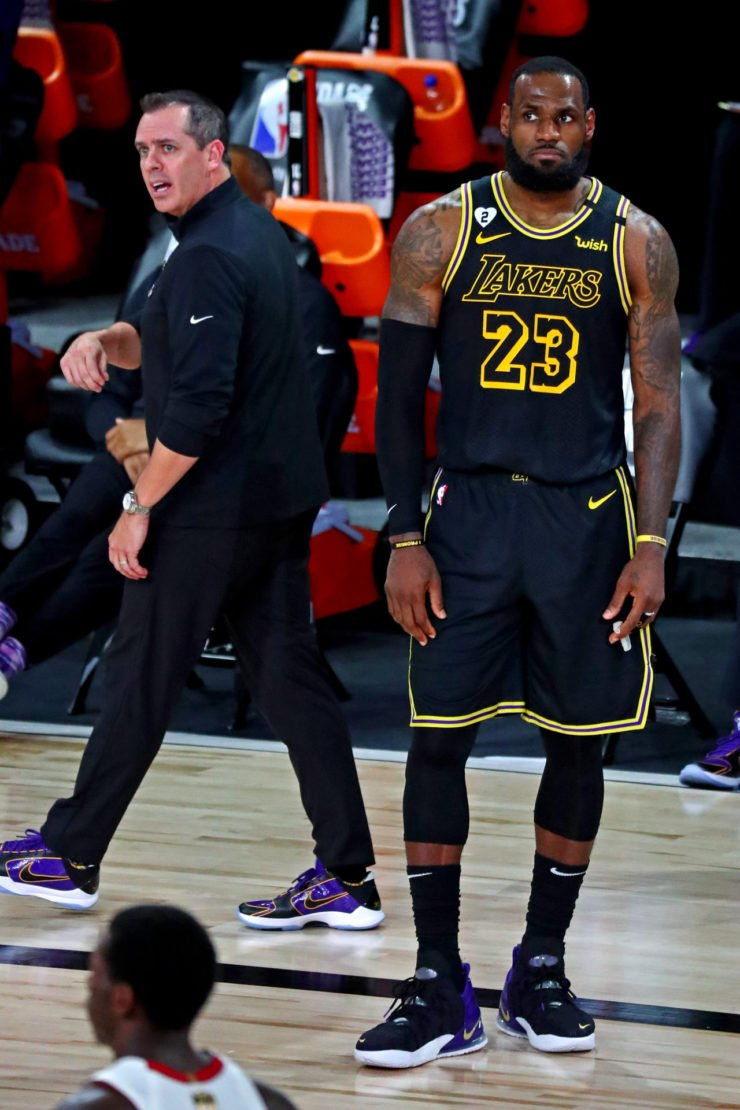 Lakers superstar LeBron James and head coach Frank Vogel in 2020 NBA Finals