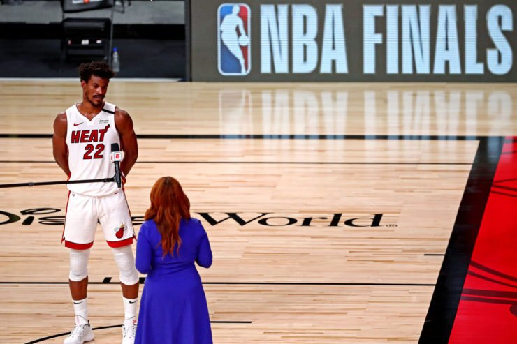 Miami Heat forward Jimmy Butler is interviewed after defeating the Los Angeles Lakers
