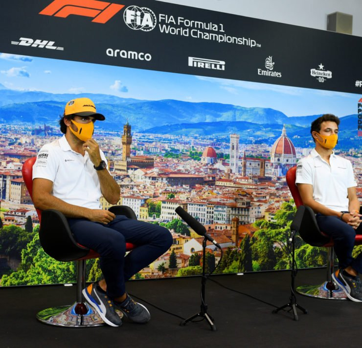 McLaren Drivers During Tuscan GP Press Conference