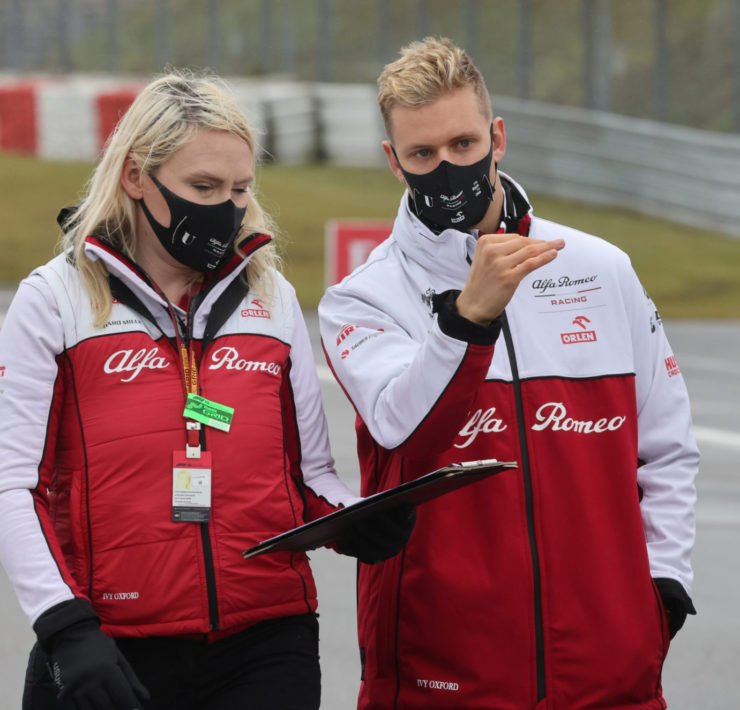 Alfa Romeo's Mick Schumacher on the circuit at Eifel Grand Prix 2020